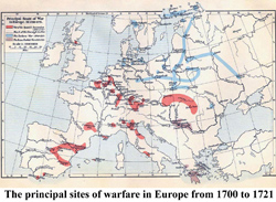 The principal sites of warfare in Europe from 1700 to 1721